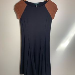 Black Dress with Suede Sleeves